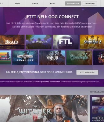 Neu seit Anfang Juni 2016: GOG Connect verknüpft den GOG-Account mit dem Steam-Konto.