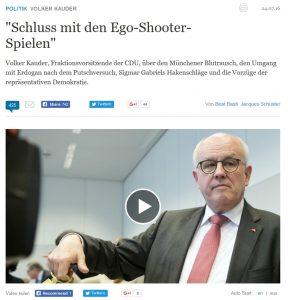 Die Welt am Sonntag übertitelt ihr Volker-Kauder-Interview mit einem Satz, der im weiteren Verlauf nicht mehr vorkommt.