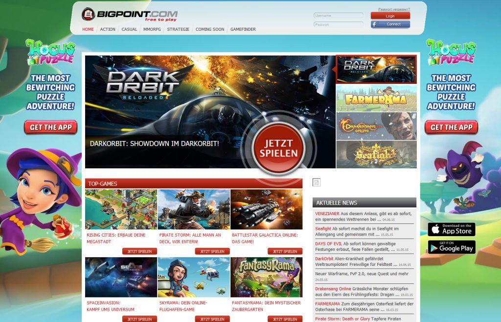 Seafight, Dark Orbit, Drakensang: Auf der Bigpoint-Website reiht sich ein Browsergame-Klassiker an den nächsten.