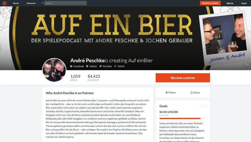 Die meisten Podcasts bieten die Möglichkeit, die Macher mit Zuwendungen via Patreon zu unterstützen (hier: 'Auf ein Bier').