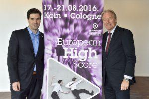 Verkündeten die Gamescom-Terminverlegung in Berlin: BIU-Geschäftsführer Dr. Maximilian Schenk (links) und KoelnMesse-Chef Gerald Böse (Foto: KoelnMesse).