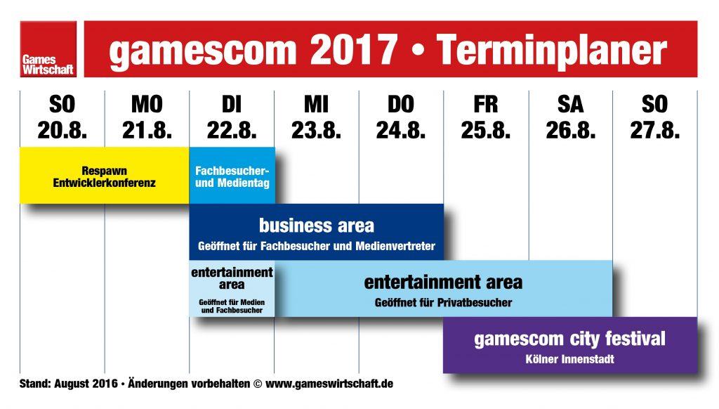 Gamescom-Woche 2017 im Überblick: Der Gamescom-Sonntag entfällt, die Messe endet bereits am Samstagabend (Stand: August 2016, Änderungen vorbehalten).