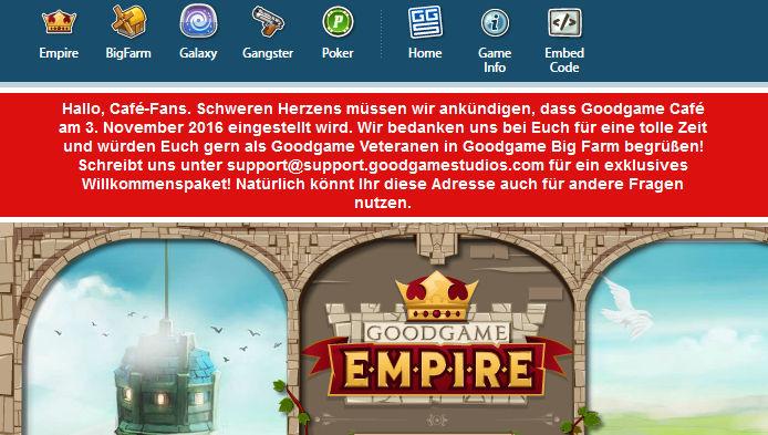Bis November stellt Goodgame Studios eine ganze Reihe von Spielen ein, darunter Goodgame Café.