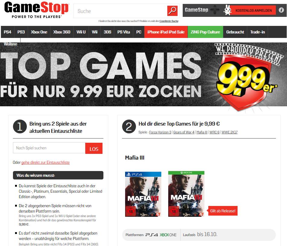 Zwei Spiele eintauschen - und eine Neuheit für 9,99 Euro bekommen: Das ist das Konzept von Gamestop.
