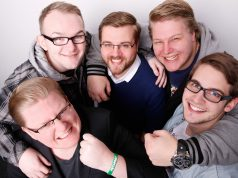 """Das PietSmiet-Team: Peter """"PietSmiet"""" Smits, Jonathan """"Dr. Jay""""Apelt, Christian """"Brosator"""" Stachelhaus, Dennis """"Br4mm3n"""" Brammen und Sebastian """"Sep"""" Lenßen."""