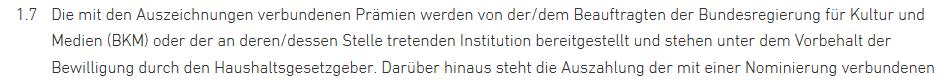 Die Preisgelder für den Deutschen Filmpreis kommen aus dem Etat des Kanzleramts.