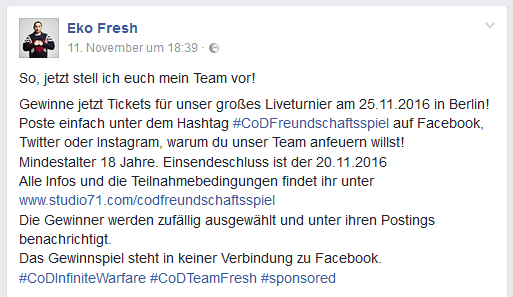 Rapper Eko Fresh hat fast 1 Million Facebook-Fans und kennzeichnet Promo-Postings mit dem Hashtag #sponsored.