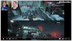 """Bei bezahlten Promotions (hier ein Gears-of-War-4-Video von Lusor Koeffizient) lässt Microsoft den Hinweis """"Werbevideo"""" integrieren."""