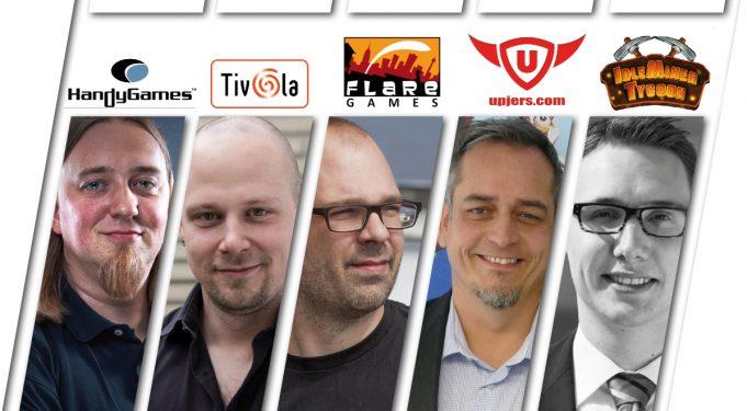 Die Appstore-Experten: Christopher Kassulke (HandyGames), Hendrik Peeters (Tivola), Klaas Kersting (Flaregames), Klaus Schmitt (Upjers) und Janosch Sadowski (Fluffy Fairy Games).