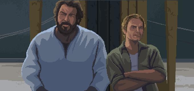 "Kickstarter-Hit ""Slaps & Beans"": Bud Spencer und Terence Hill im Pixel-Look."