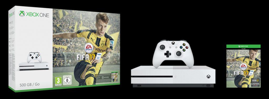 Das Xbox One S-Bundle enthält neben der Konsole auch das Fußballspiel FIFA 17.