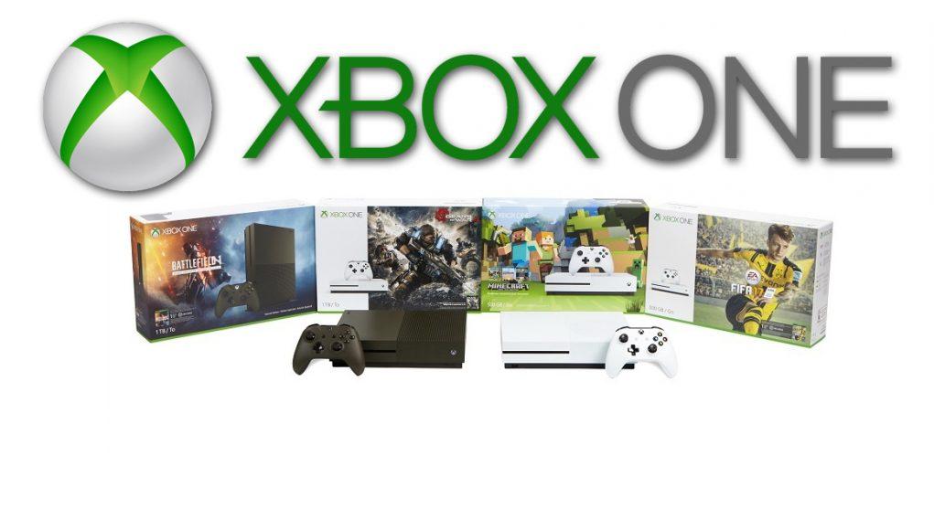 Microsoft bewirbt Xbox One S Bundles und Spieleneuheiten.