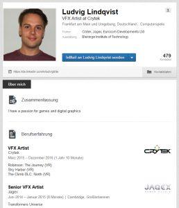 Das LinkedIn-Profil von Ludvig Lindqvist weist Stationen bei Jagex und Crytek aus.