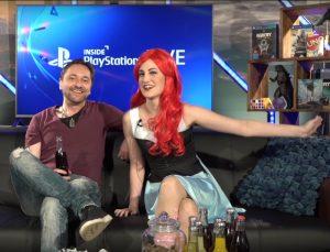 """Anne Wernicke, Moderatorin von """"Inside PlayStation"""" (hier mit Wolf Speer)"""