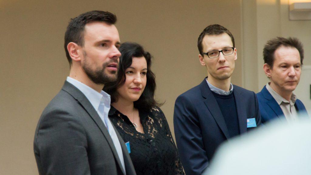 Die Ausrichter des Deutschen Computerspielpreises: Felix Falk (BIU), Dorothee Bär (BMVI), Stefan Marcinek (GAME) und Peter Tscherne (Award-Büro bei der Stiftung Digitale Spielekultur)