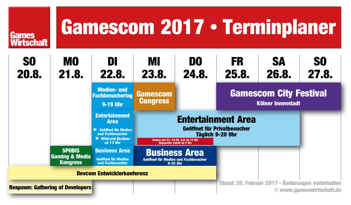 Der aktualisierte Gamescom-Terminplaner - jetzt inklusive SPOBIS Gaming & Media 2017 (Stand: 21.02.2017)
