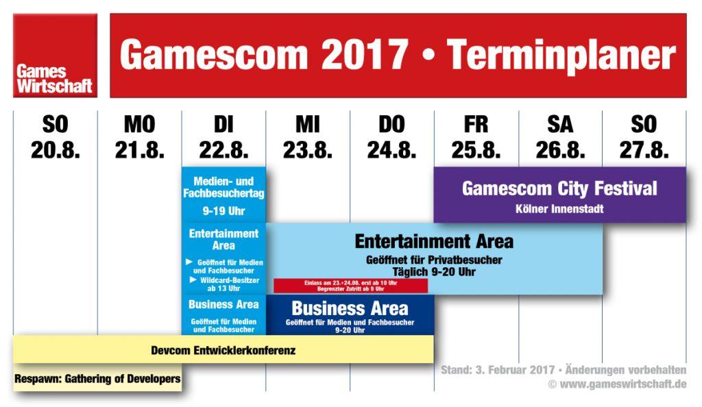 Die Gamescom-Woche 2017 im Überblick (Stand: 03.02.2017)