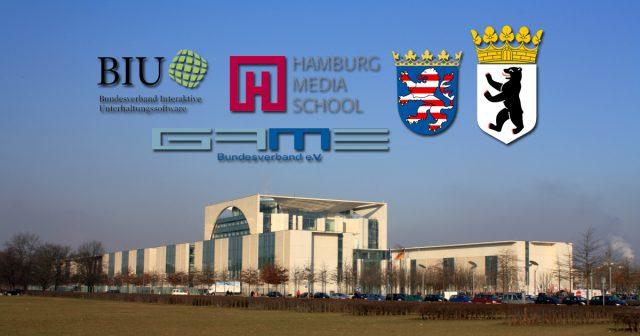Träger der Standort-Studie zur Gamesbranche: GAME, BIU, die Hamburg Media School und die Bundesländer Hessen und Berlin