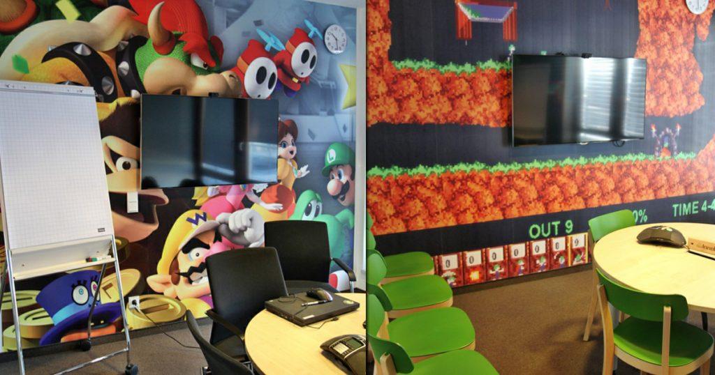 Jeder InnoGames-Besprechungsraum huldigt einem Spieleklassiker - hier Super Mario und Lemmings.