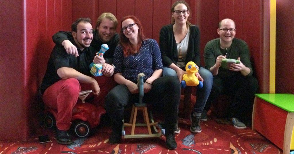 Das Team der Indie Arena Booth 2017: Wolf Lang, Oliver Eberlei, Jana Reinhardt, Anna Appenzeller und Florian Masuth.