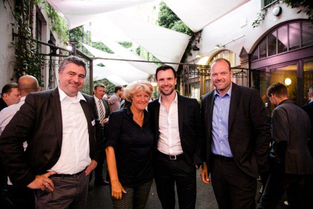 Blue-Byte-Studioleiter Benedikt Grindel, Monika Grütters, BIU-Geschäftsführer Felix Falk und Vorstandssprecher Tobias Haar (Foto: Oh Hewdig / Saskia Baumeister)
