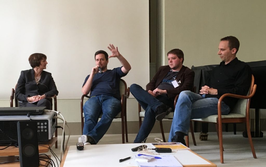 Diskutierten bei der 6. Update Games: Michaela Haberlander (FFF Bayern), Alexander Zacherl (Fairtale Distillerie), Wolfgang Emmer (Icebird Studios), Jan Klose (Deck 13)