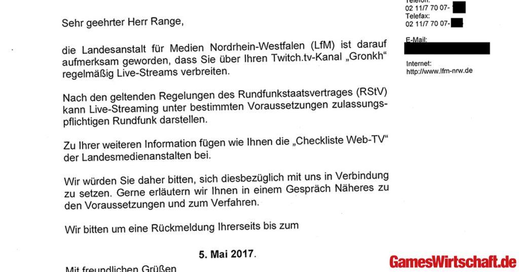 """""""Sehr geehrter Herr Range"""": Die Landesmedienanstalt NRW kontaktiert Gronkh am 5. April 2017."""