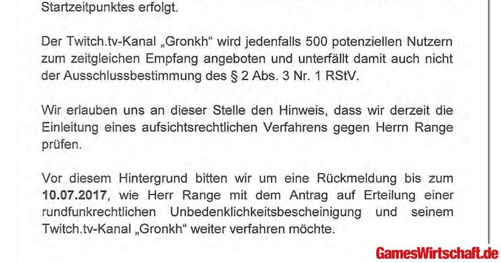 """Ultimatum 10. Juli: Die Landesmedienanstalt prüft die Einleitung eines """"aufsichtsrechtlichen Verfahrens"""" gegen Gronkh."""