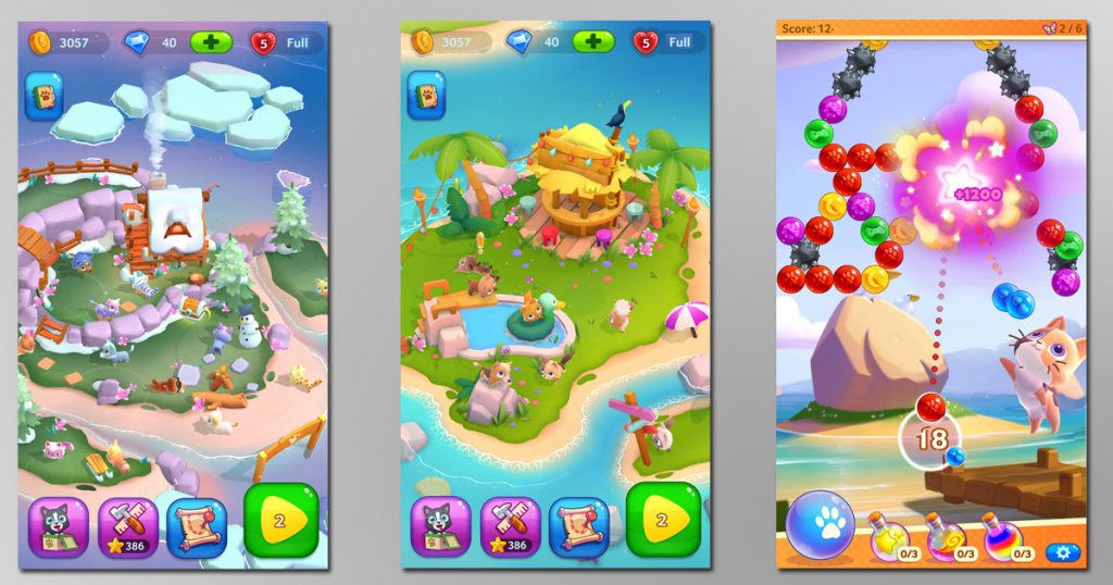 """Spielszenen aus dem TreasureHunt-Titel """"Pet Paradise"""""""
