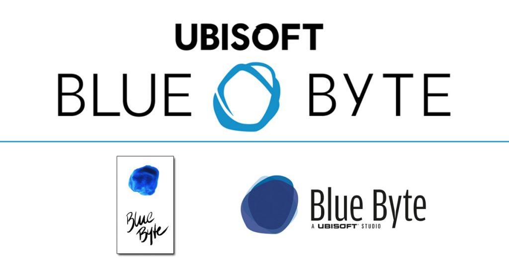 Das Blue-Byte-Logo im Lauf der Jahrzehnte: links unten das Original von 1988, rechts unten die Version bis 2017, oben die aktuelle Version.