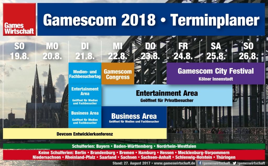 Die Gamescom 2018 startet traditionell mit dem Medien- und Fachbesuchertag am Dienstag (Stand: 27.8.2017).