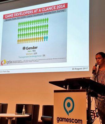 """Medienwissenschaftlerin Sabine Hahn bei ihrem Vortrag während des """"Women in Tech Day 2017""""."""