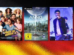 Kulturgut Computerspiel im Branchenvergleich mit Film und Musik (Fotos: Constantin Film Verleih / Ubisoft / Getty Images / Franziska Krug / DCP)