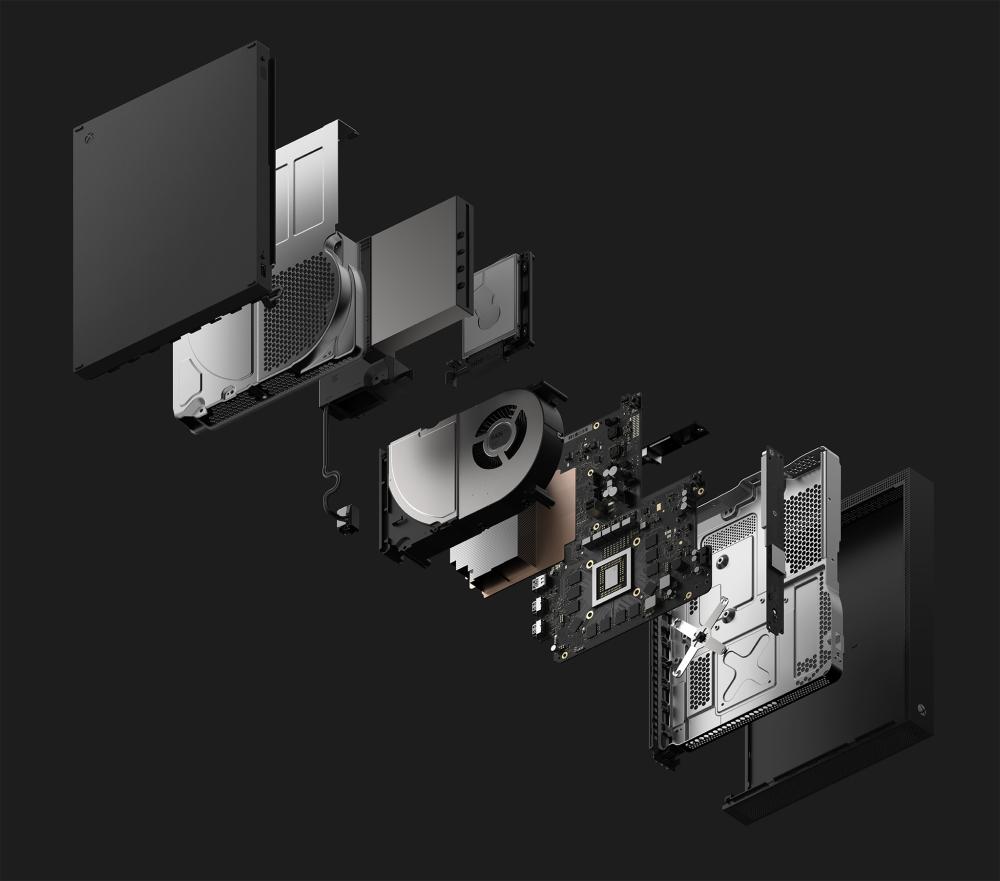 """Das Innenleben der Spielemaschine: Microsoft vermarktet die Xbox One X als """"leistungsstärkste Konsole der Welt""""."""