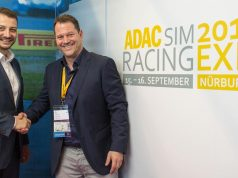 Marc Hennerici (Leiter Sport und Event, ADAC Mittelrhein) und Cowana-Geschäftsführer Michael Wamser intensivieren die Zusammenarbeit im Rahmen der ADAC SimRacing Expo 2018.