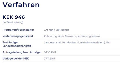 """Aktenvermerk """"KEK 946"""": Bereits im Oktober 2017 hat Erik Range einen Antrag auf Rundfunklizenz gestellt."""