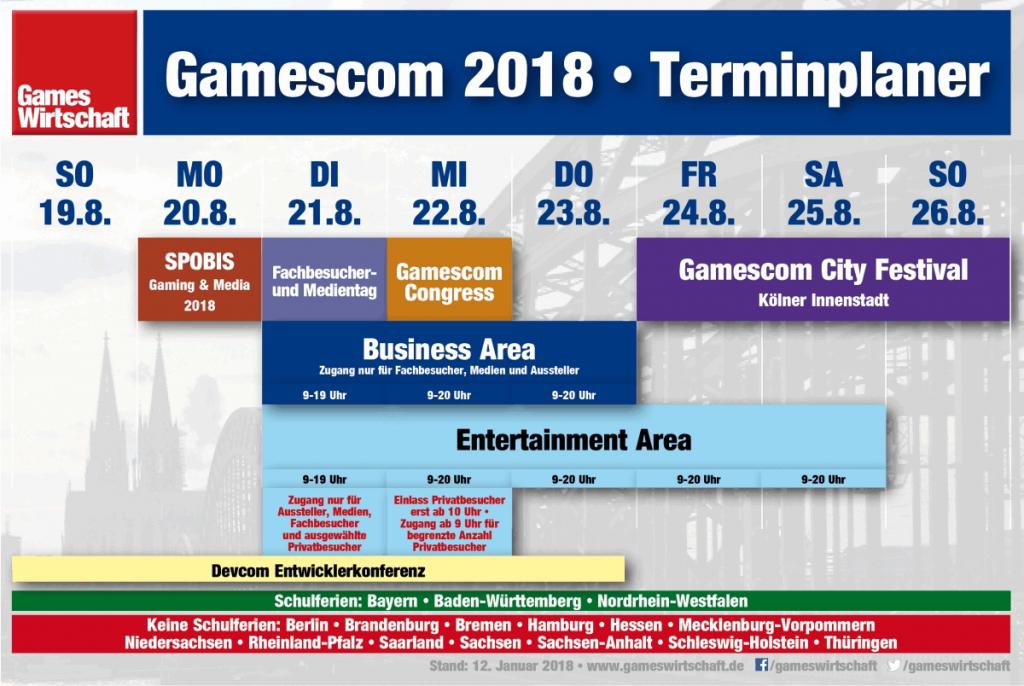 Auch die Gamescom 2018 startet mit einem Fachbesucher- und Medientag (Stand: 15. Januar 2018)