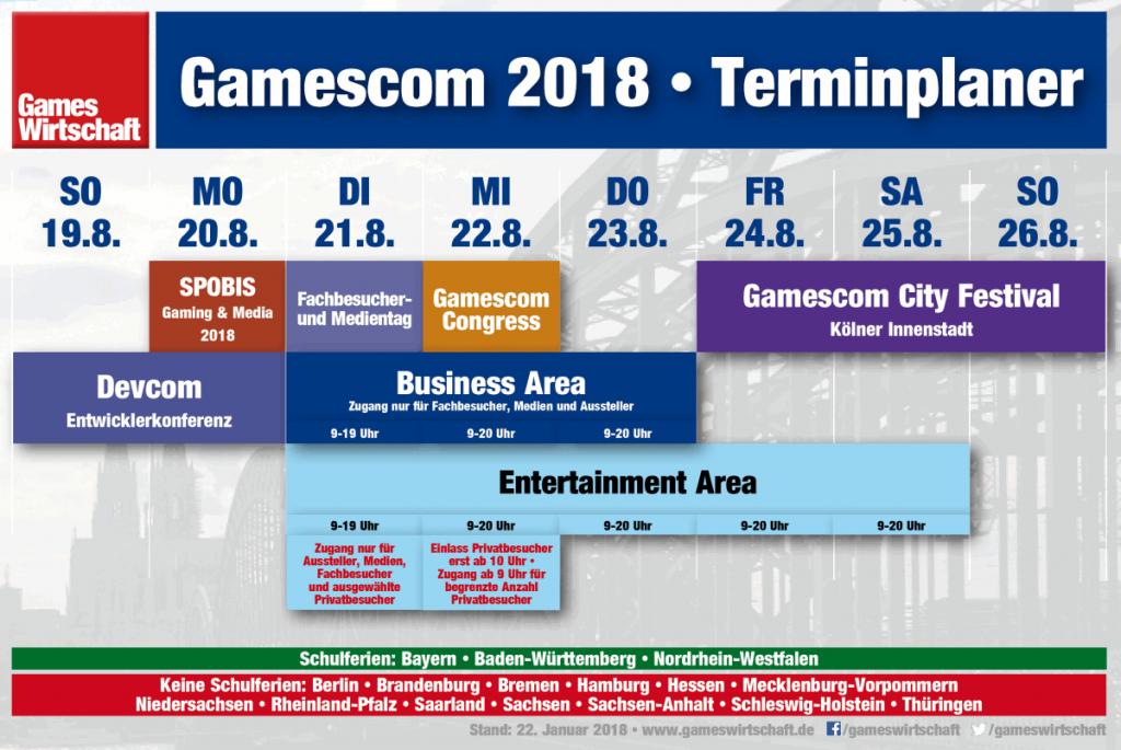 Update für den Gamescom 2018 Terminplaner inklusive der neuen Devcom 2018-Termine (Stand: 22. Januar 2018)