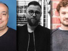 Marc Braun (Ubisoft), Patryk Grzeszczuk (11 Bit Studios) und Philip Hammer (Deck 13) stehen auf der Bühne der Quo Vadis 2018 in Berlin.