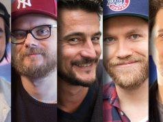 Feiern dritten Sendergeburtstag von Rocket Beans TV: Daniel Budiman, Etienne Gardé, Arno Heinisch, Nils Bomhoff und Simon Krätschmer.