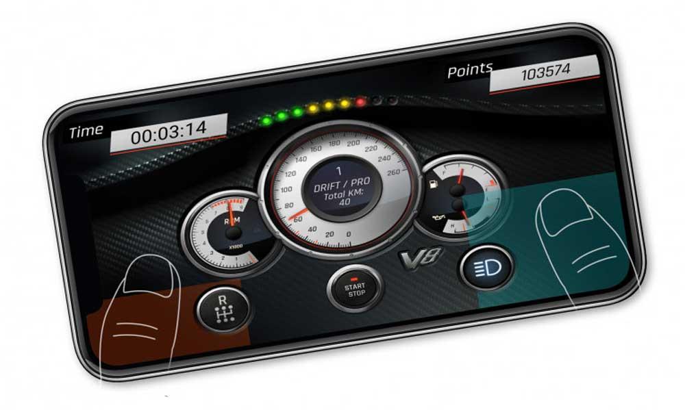 """Die """"DR1FT Racer""""-App ist für iOS- und Android-Smartphones erhältlich (Abbildung: Sturmkind/Nukklear)"""