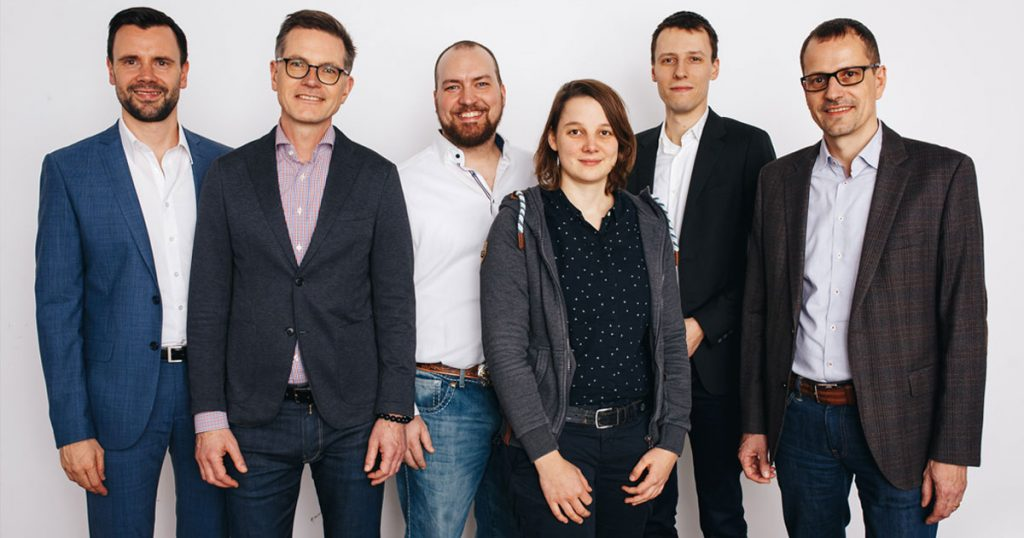 Das Führungs-Team des Game-Verband (von links): Geschäftsführer Felix Falk, Jens Kosche (Electronic Arts), Lars Janssen (Travian Games), Linda Kruse (The Good Evil), Stefan Marcinek (Assemble Entertainment) und Ralf Wirsing (Ubisoft)