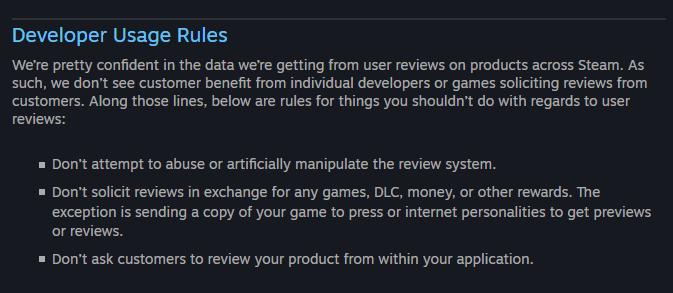 In den Richtlinien warnt Valve eindringlich davor, Spiele-Bewertungen künstlich zu manipulieren.