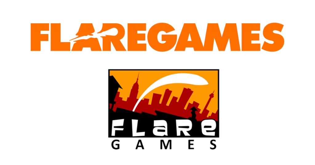 Oben das neue Flaregames-Logo, unten das bisherige Motiv (bis Februar 2018).