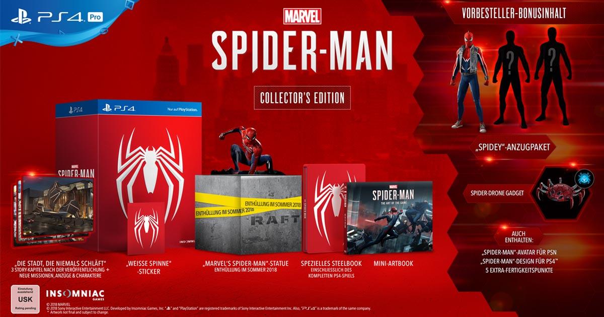 """In der """"Spider-Man Collector's Edition"""" ist neben dem Spiel eine exklusive Spider-Man-Statue und ein Mini-Artbook enthalten."""