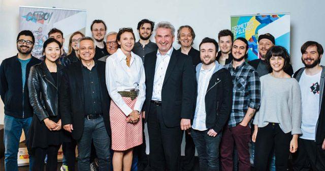 Die Eröffnung der Cologne Game Farm übernahmen Roland Berger (Stadt Köln), CGL-Professor Gundolf Freyermuth, Projektleiterin Odile Limpach und NRW-Wirtschaftsminister Andreas Pinkwart (Foto: Costa Belibasakis / TH Köln)