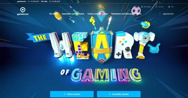 Die neue Gamescom-Website begrüßt die Besucher mit dem animierten Motto der Messe: