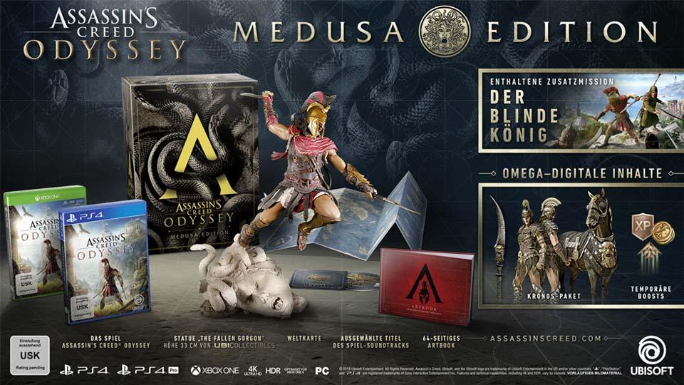 Die Assassin's Creed Odyssey Medusa-Edition ist auch im Einzelhandel und bei Online-Versendern erhältlich (Abbildung: Ubisoft)