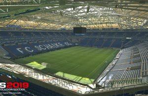 Fotografiert, gescannt, digitalisiert: Die 3D-Veltins-Arena ist Teil der Exklusiv-Vereinbarung zwischen Schalke 04 und Konami für PES 2019 (Abbildung: Konami)