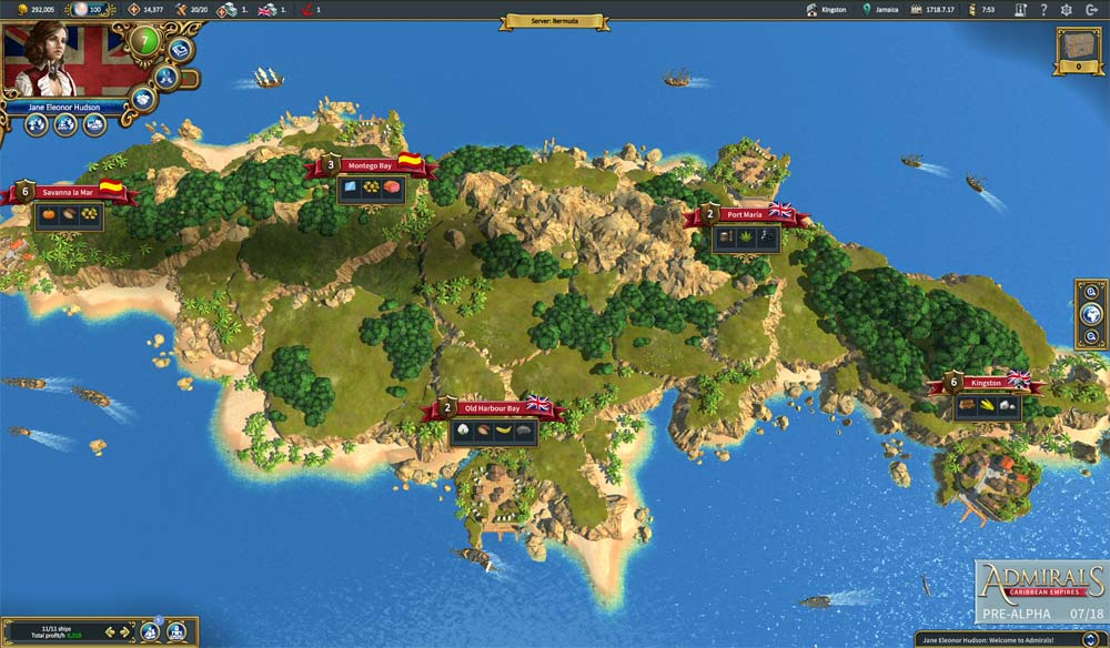 """Die zoombare Inselwelt von """"Admirals: Caribbean Empires"""" zeigt, welche Rohstoffe in welchem Hafen gefragt sind (Abbildung: Travian Games GmbH)"""